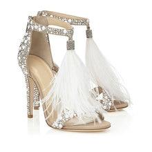 2019 femmes chaussures de mariage femme couleur unie strass Sexy plume sandales robe de danse sandales grande taille 42 43 gland pompes