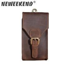 New Men's Genuine Crazy Horse Leather Waist Fanny Bag Hip Travel Bum Belt Loops Pack Phone Pocket Wallet Purse For Men 2095