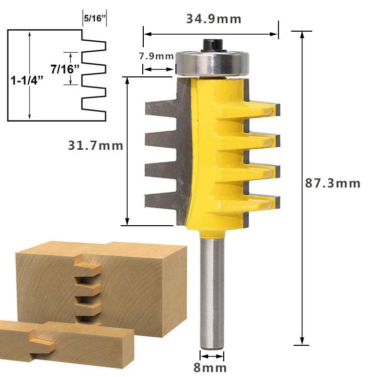 Riel de caña de 8MM junta de dedo Reversible pegamento enrutador Bit lengüeta tenón tallado fresa de madera para herramienta de carpintería