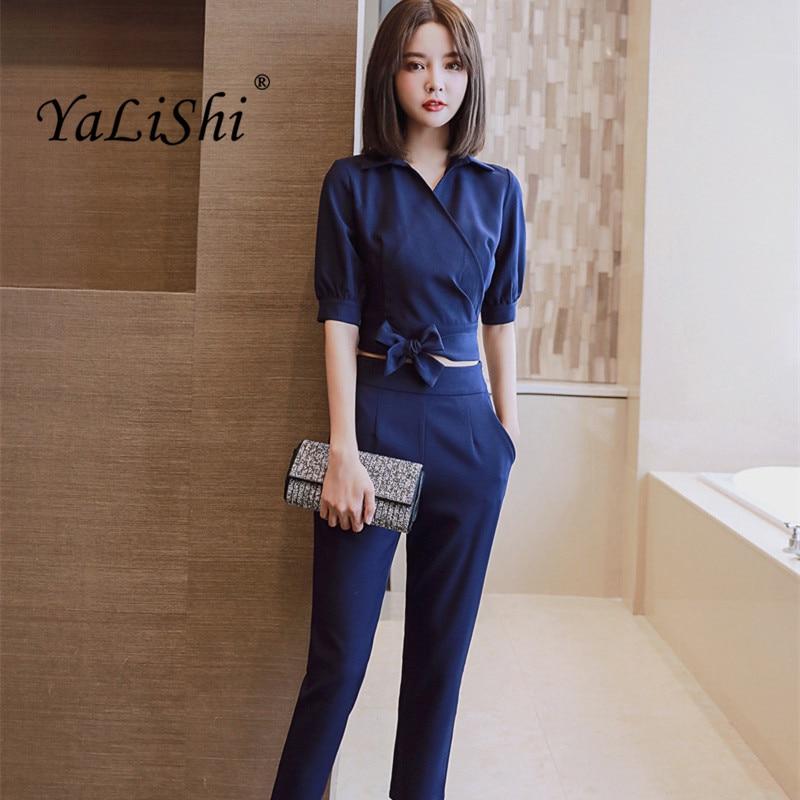 2021 الصيف المرأة دعوى مكتب حزب مثير Bodycon Vestidos الأزياء الأزرق رمادي قصيرة قميص قمم و مستقيم السراويل 2 قطعة مجموعة