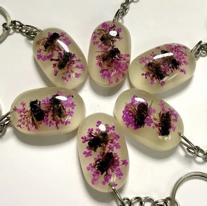 24 pcs vogue cool bee design purple flower charming keychain