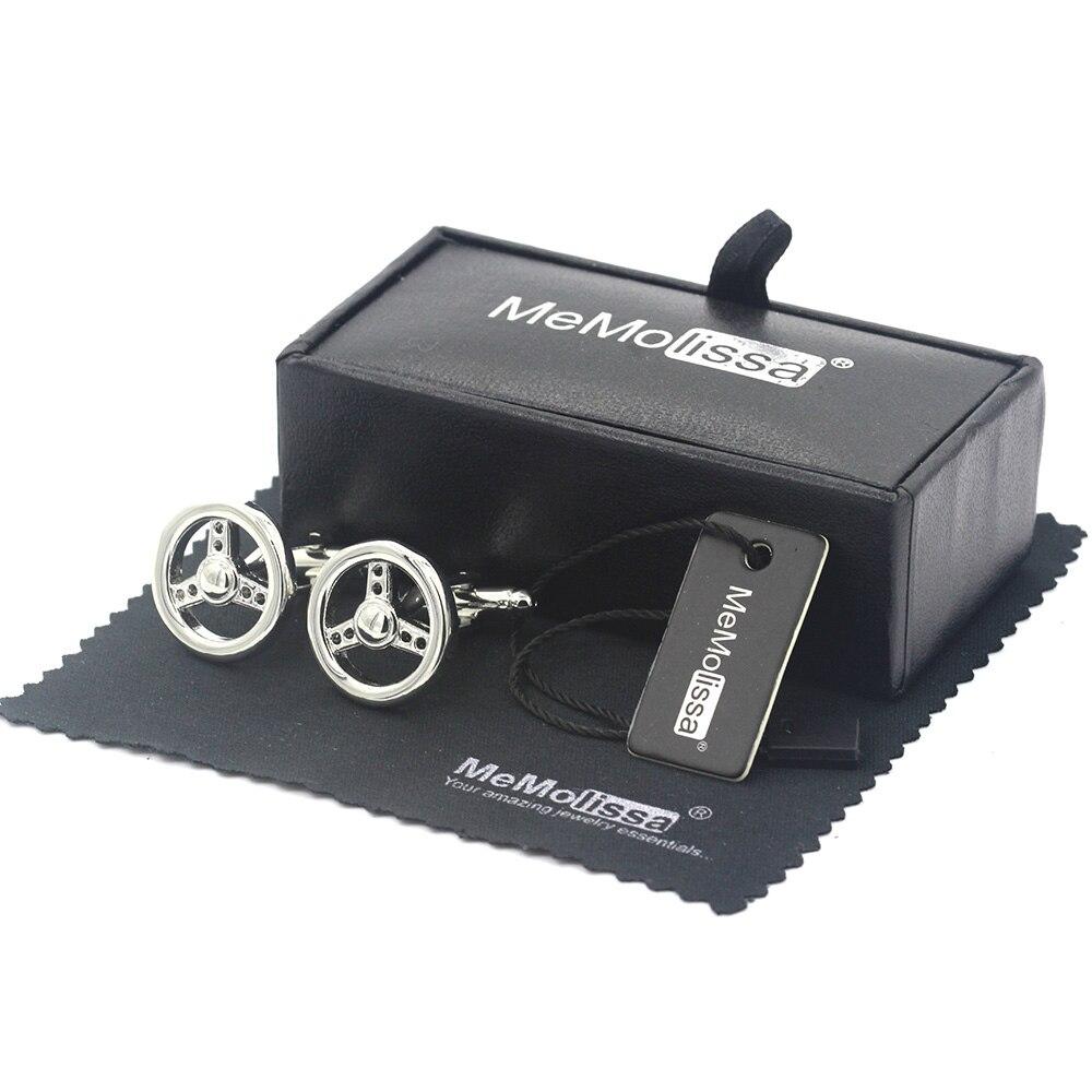 MeMolissa Display Box Cufflinks Classic Silver Car Steering Wheel Cufflink for Mens Bouton De Manchette Free Tag & Wipe Cloth
