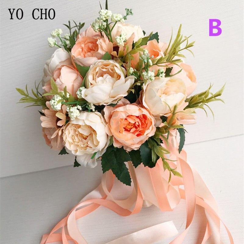 YO CHO Braut Hochzeit Bouquet Brautjungfer Halten Bouquet Hochzeit Liefert Künstliche Seide Rose Pfingstrose Rosa Blume Tisch Dekoration