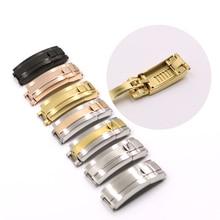 CARLYWET 9mm x 9mm brosse à polir en acier inoxydable Bracelet de montre boucle coulissante verrouillage fermoir en acier pour Bracelet en caoutchouc Bracelet en cuir ceinture