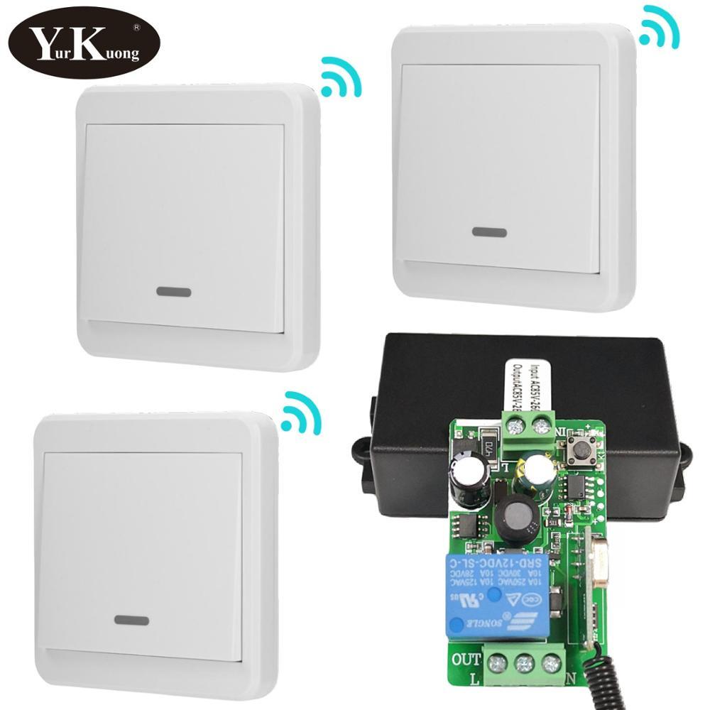 433MHz RF Remote Control Switch AC 110V 220V 240V 85V-260V Light Lamp LED Bulb Wireless Switches Corridor Room Wall Panel Switch