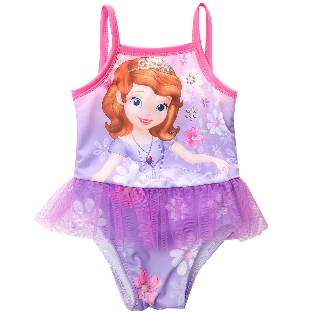 2-7Y, nuevo modelo, Bonito traje de baño para niña, una pieza con patrón de princesa, traje de baño para niñas, traje de baño para chico/niños