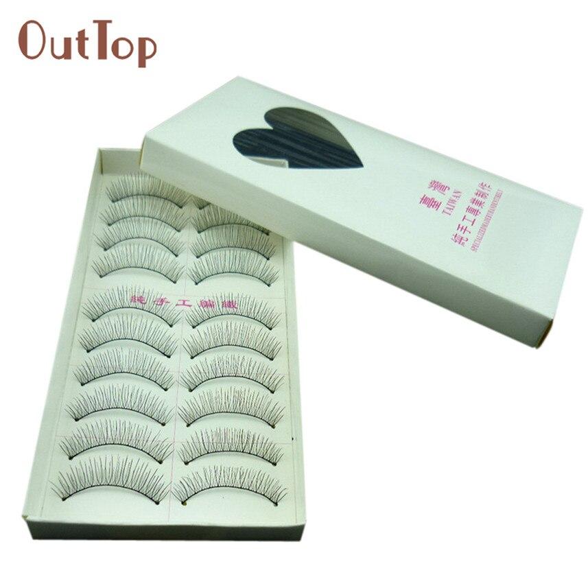 Venta al por mayor 10 pares de pestañas de moda Natural maquillaje de ojos hecho a mano pestañas falsas largas Sparse JN12
