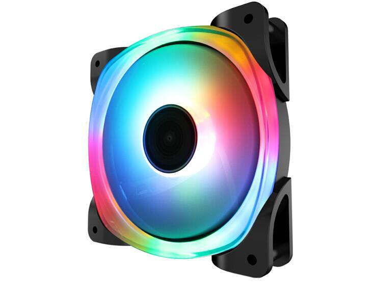 Jonsbo FR-701 luz de cristal 5 v 12 cm fã (dentro e fora círculo led iluminação ventilador 3pin interface + power d-port interface)