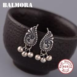 Balmora 100% real 925 prata esterlina pavão animal & prata grânulo brincos para mulheres retro estilo chinês jóias brincos