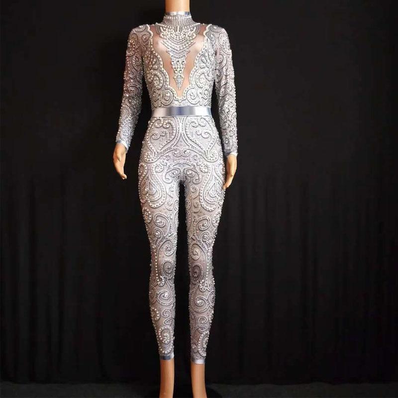2020 mono de cristales brillantes traje de cantante Stretch atuendo mujeres Sexy Leggings desnudo traje danza etapa desgaste Mujer