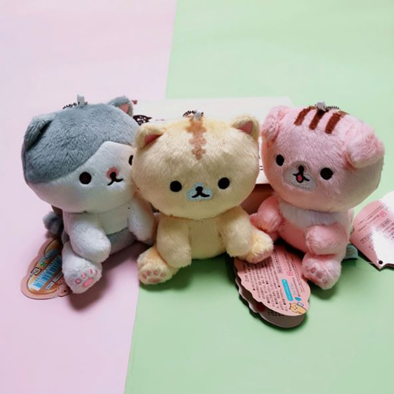 Bonito llavero de gato japonés san-x de felpa, llavero colgante para bolsa con Gato tostado de felpa para niños, muñeco de juguete de peluche 1 unidad
