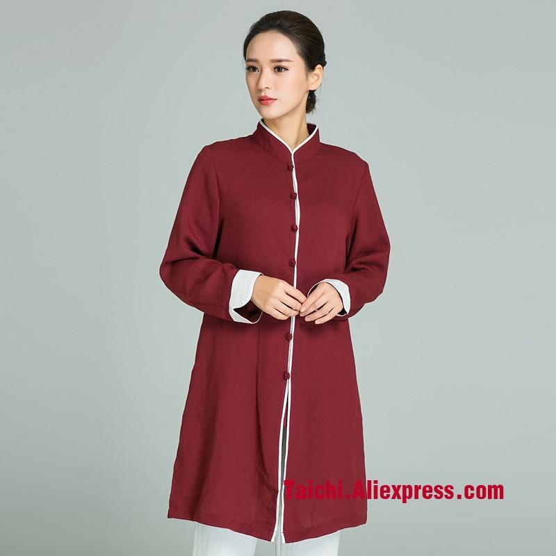 Hecho a mano de lino uniforme de Tai Chi Wushu Kung Fu arte marcial de Tai Chi falda chino estilo Color rojo vino