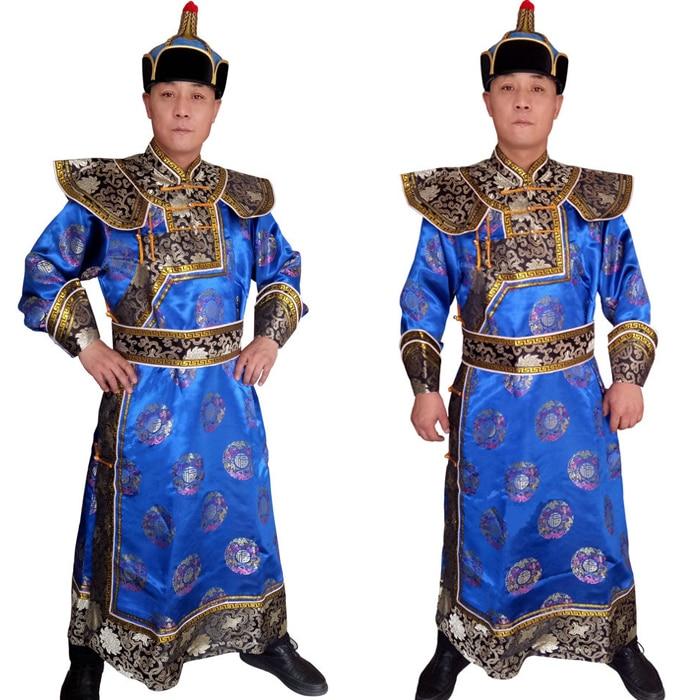 Alta-grau Mongol Mongolia nacional roupas Príncipe vestido robe Traje masculino roupas para TV moive Sua Sua Alteza Real