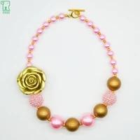 5pcs girls gold resin flower necklace new fashion pink bubblegum pearl choker child costume jewelry gold resin flower necklace