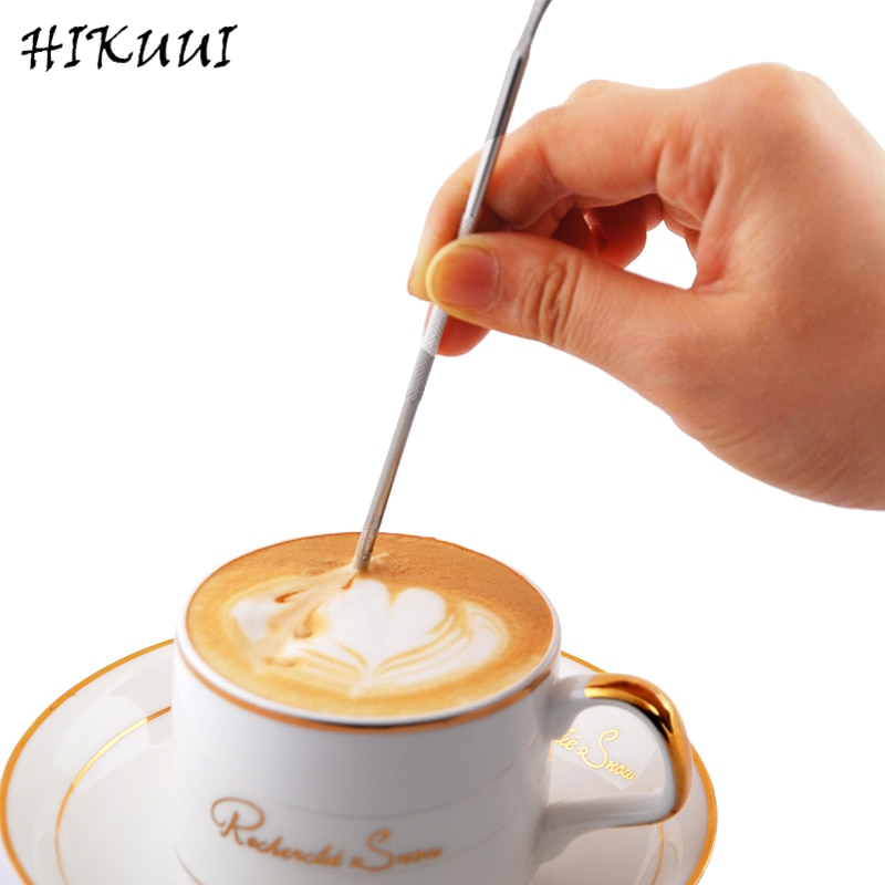 HIKUUI Caffe Latte aguja capuchino flor Pin DIY herramientas de café guirnalda aguja de acero inoxidable varilla tallada pluma de arte