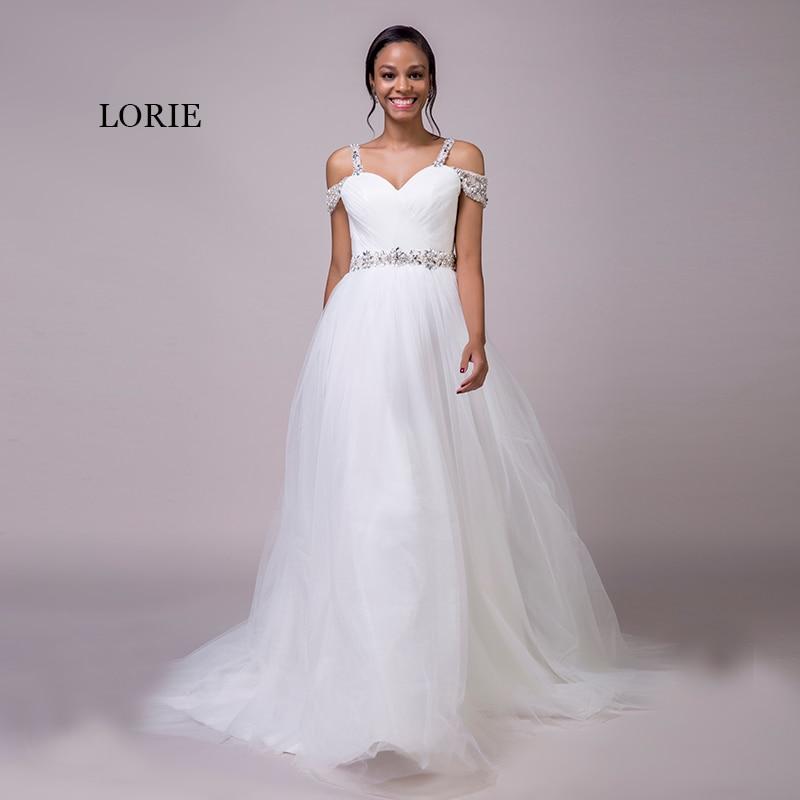 LORIE Beach Wedding Dresses Spaghetti Strap Beaded Sashes Princess Off the Shoulder Cheap Bridal Dress White wedding Gown 2018