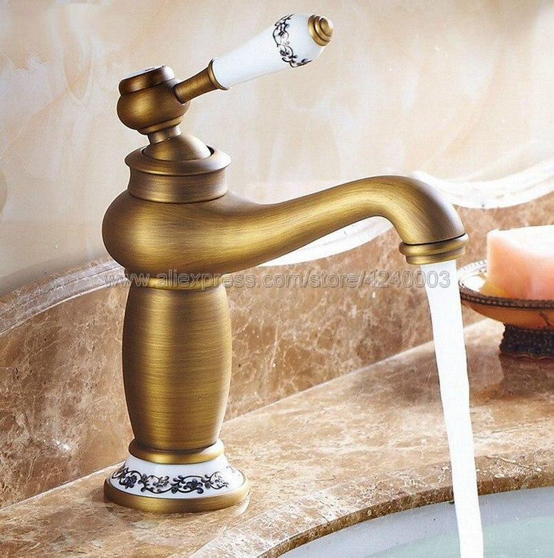 basin faucets antique brass deck mounted bathroom sink faucet single handle hole ceramic deco toilet mixer tap wc taps dz 8009f Basin Faucets  Bathroom Faucet Ceramic Single handle Basin Mixer Tap Bath Antique Faucet Brass Sink Water Knf503