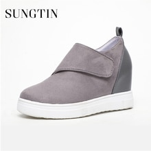 Sungtin Autumn New Round Toe Plus Size Flat Short Boots Women Casual Platform Ankle Boots Round Toe Wedges Heels Women Shoes