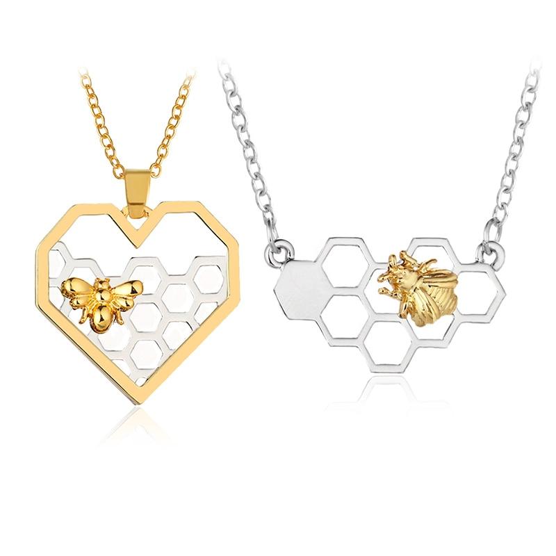 Panal abeja Animal insectos DNA polígono geométrico largo Chian collar fiesta amante dopamina romántico regalo joyería