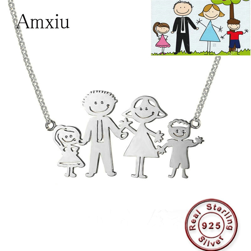Amxiu Custom 925 Silver Jewelry DIY 2-7 Family Members Pendant Necklace Handwritten Children's Drawing Family Portrait Necklace