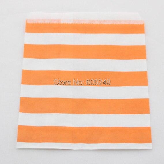 100 piezas de colores mezclados barato al por mayor Halloween Buffet Favor naranja marinero rayado niños fiesta bolsas de papel caramelo
