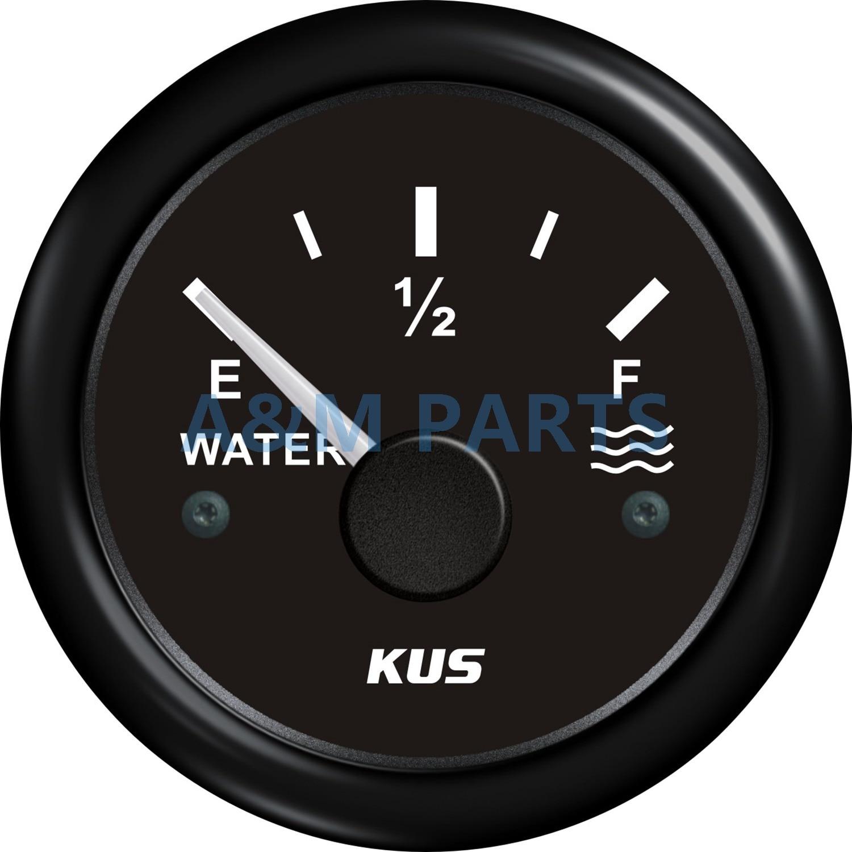 KUS Barco Indicador de Nível de Água Indicador Completo Vazio À Prova D Água para o Caminhão de Água Marinha RV ATV Preto 12/24V 0-190ohms 52mm