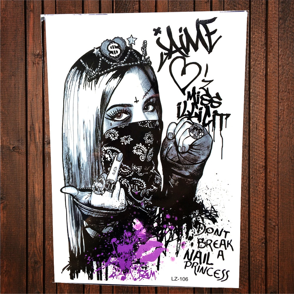 Máscara Punk Rebel Girl tatuaje temporal impermeable arte corporal para mujer falso flash negro tatuaje de Henna pegatina Hombres estilo de verano tatuaje