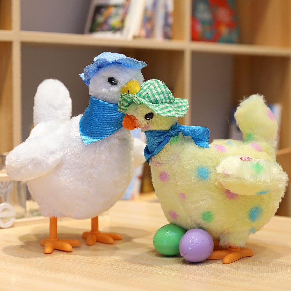 1 pc 25 centímetros boneca animal bonito da galinha da galinha vai botar ovos loucos cantando e dançando elétrica pet brinquedo de pelúcia o presente das crianças