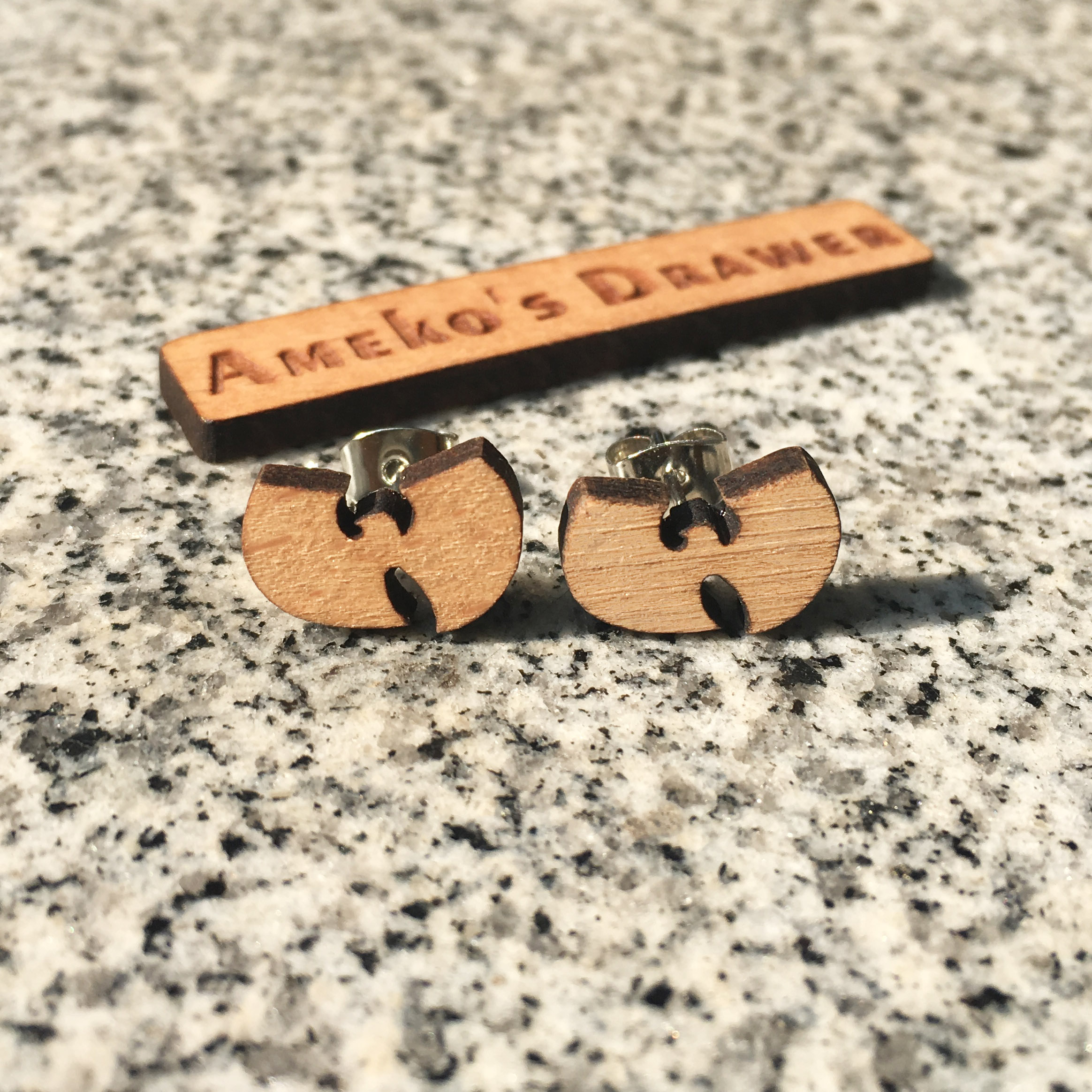 Wu-Tang Clan Earring Laser Engraved Hip Hop Earrings Music Stud Super Star Wooden Earring Handmade Earring X 1 Pair