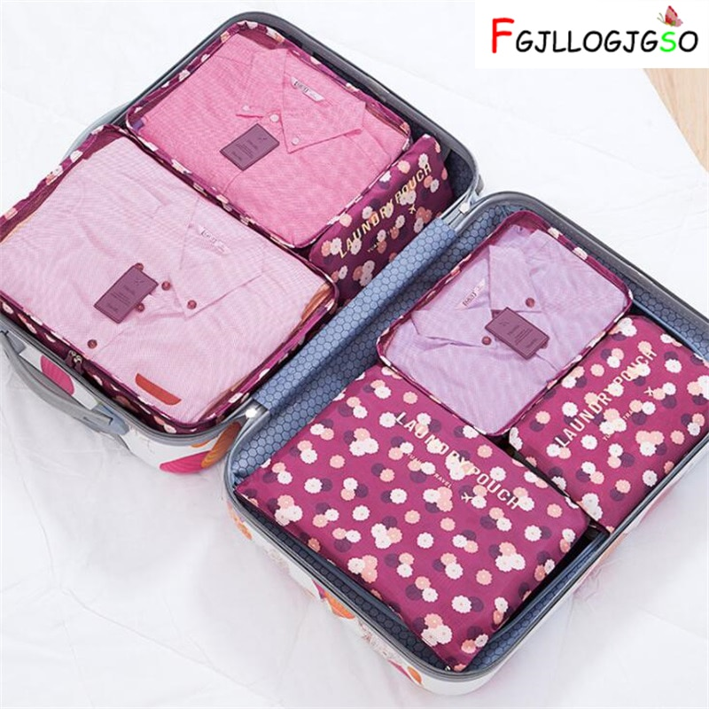 FGJLLOGJGSO Nylon Packing Cube Women Travel Bag System Durable 6 PCS/Set Large Capacity Of Unisex Clothing Sorting Organize Bag