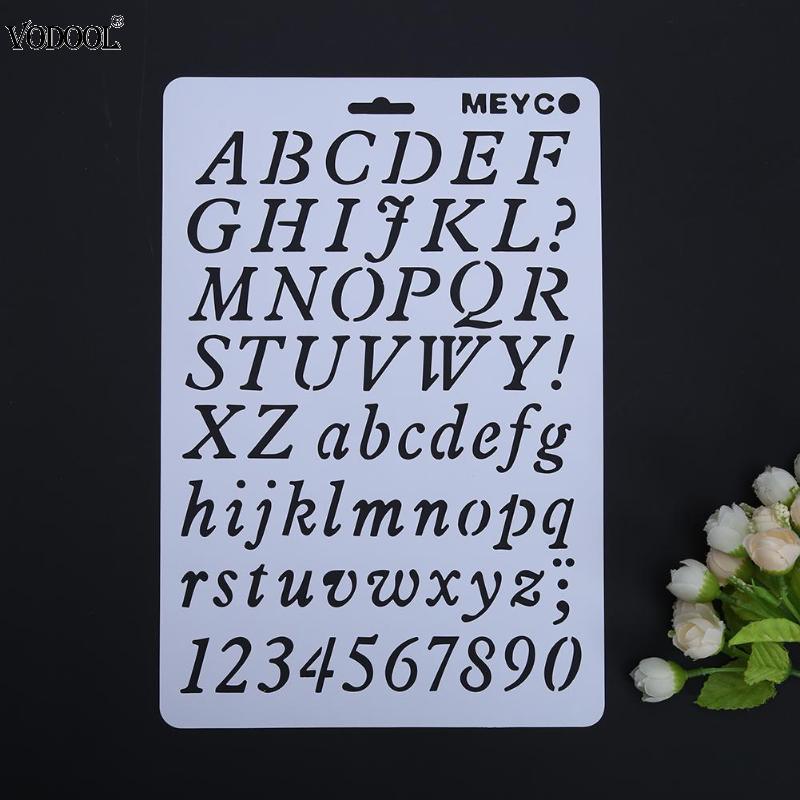 Plantilla para caligrafía con números de alfabeto DIY hueco plantilla para letra plantilla para pintura papel decorativo palabras útiles escolares para estudiantes