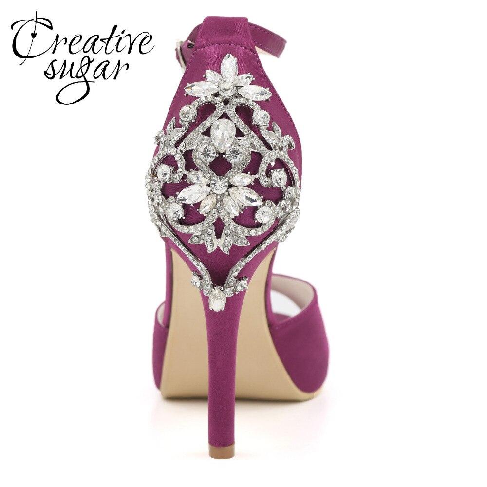 Creativesugar مثير D'orsay المفتوحة تو منصة فستان ستان أحذية الكاحل حزام كريستال الكعوب الزفاف الزفاف مساء أحذية