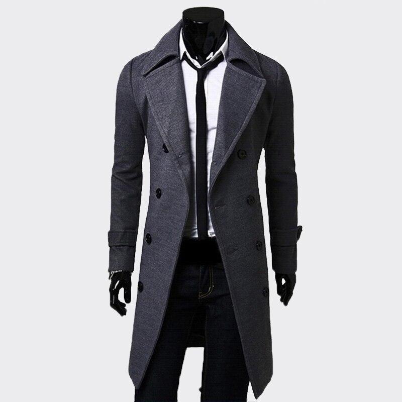 Xingdeng moda masculina longo preto duplo breasted jaqueta à prova de vento dos homens trench coat fino casaco plus size superior blazer roupas