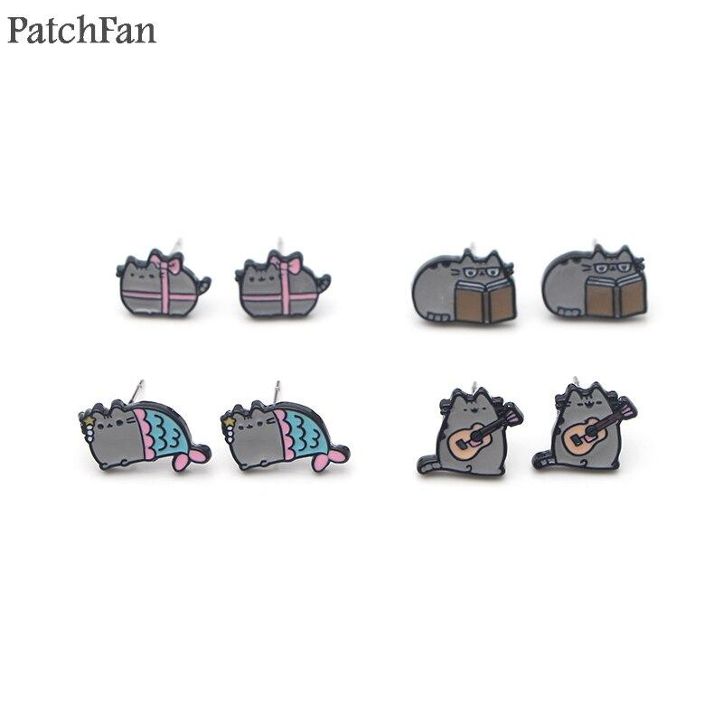Patchfan cartoon katze charme cartoon ohrringe emaille Charme Nette kreative para party favor frauen Souvenir präsentieren schmuck A1003
