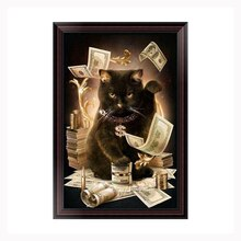 Lucky Cat Money cartoon animal 5d diy diamond painting cross stitch round diamond set unfinished full diamond embroidery