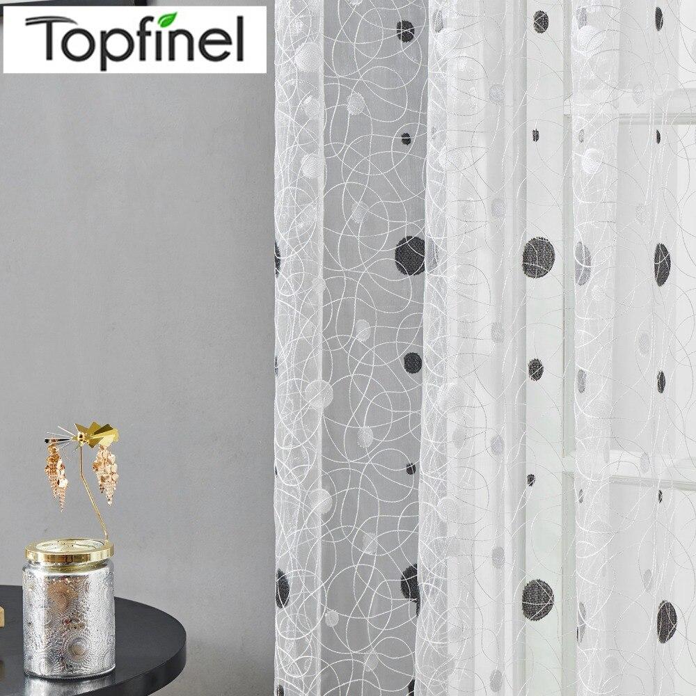 Topfinel novedad nido de pájaro moderno elegante bordado cortinas para la cocina Tul para la ventana Red tul para el dormitorio de la sala Persianas Cortinas
