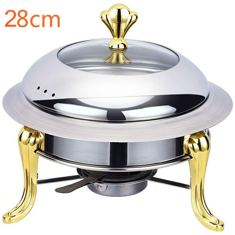 20% juego de ollas de acero inoxidable mini hotpot holder tapa de vidrio templado 30cm plato de frotamiento dorado y plateado bandeja de bufé bandeja de comida