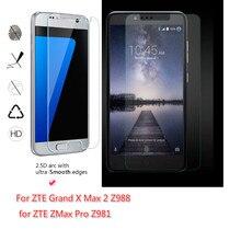 Zte grand x max 2 용 가드 필름 z988/zmax pro z981 투명 강화 유리 스크린 보호기 2.5d 9 h 안전 보호 6.0