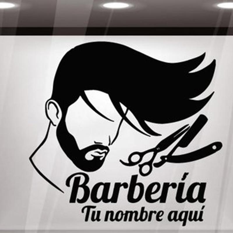 Signo de Barbershop para hombres, pegatinas de pared, Mural, barbería, Logo, pegatina para ventana, decoración de pared, pegatina para salón de peluquería móvil X38