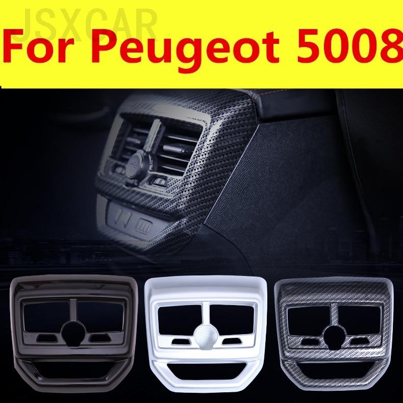 Ventilación de aire acondicionado trasero de estilo de coche de fibra de carbono de alta calidad marco decorativo embellecedor de salida de aire para Peugeot 5008 2017-2019