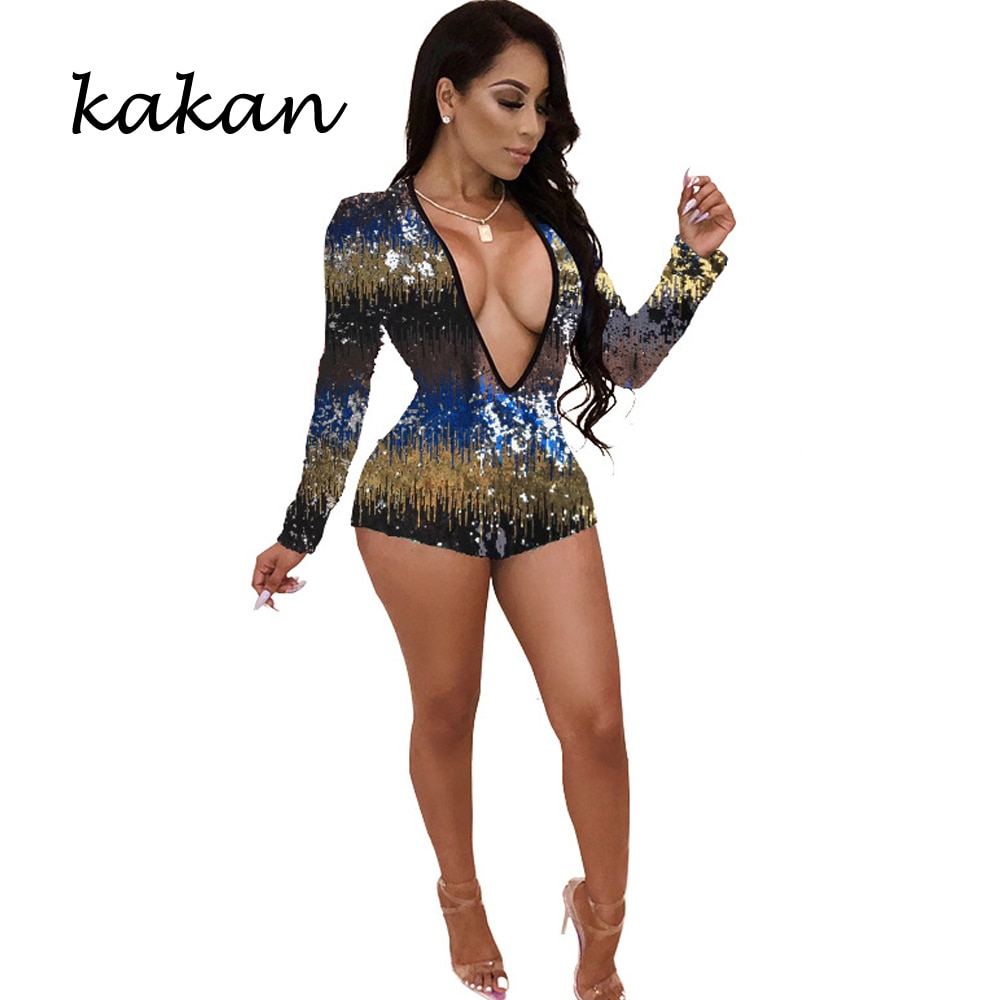 Kakan 2019 summer new womens sequins one-piece tights club party  color leotard sexy V-neck jumpsuit