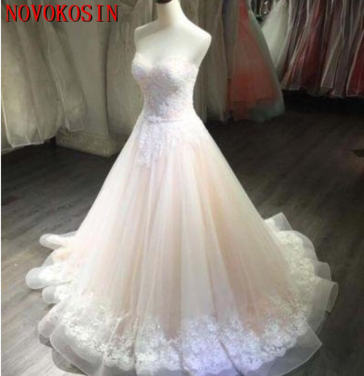 Sweep Train Applique Beading Lace 2019 Wedding Bridal Dress Blush Pink A Line Sweetheart Strapless Sleeveless Gown