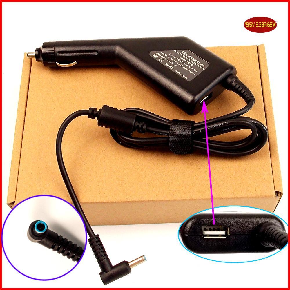 19.5 V 3.33A Laptop DC Adaptador de Carregador de Carro + USB para HP 15-r052nr G9D77UA 15-r053cl G9D64UA 15-g070nr J1J41UA 15-g067cl F9J10UA