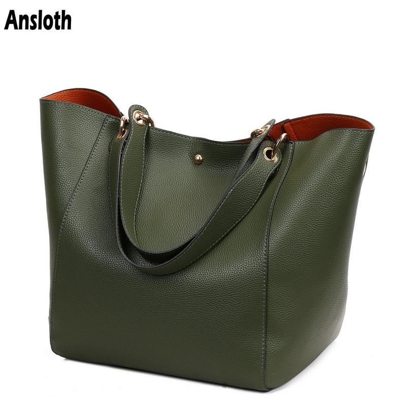 Ansloth Fashion Big Handbag Women PU Leather Shoulder Bag Ladies Large Capacity Bag Female Composite Bag Classic Handbag HPS416