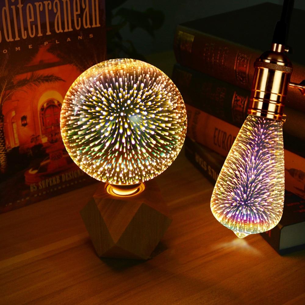 Table Lamps Colorful Fireworks Effect LED 3D Light Vintage Bulbs 3D Lamp 110V - 240V Home Bar Night Light Christmas Decoration