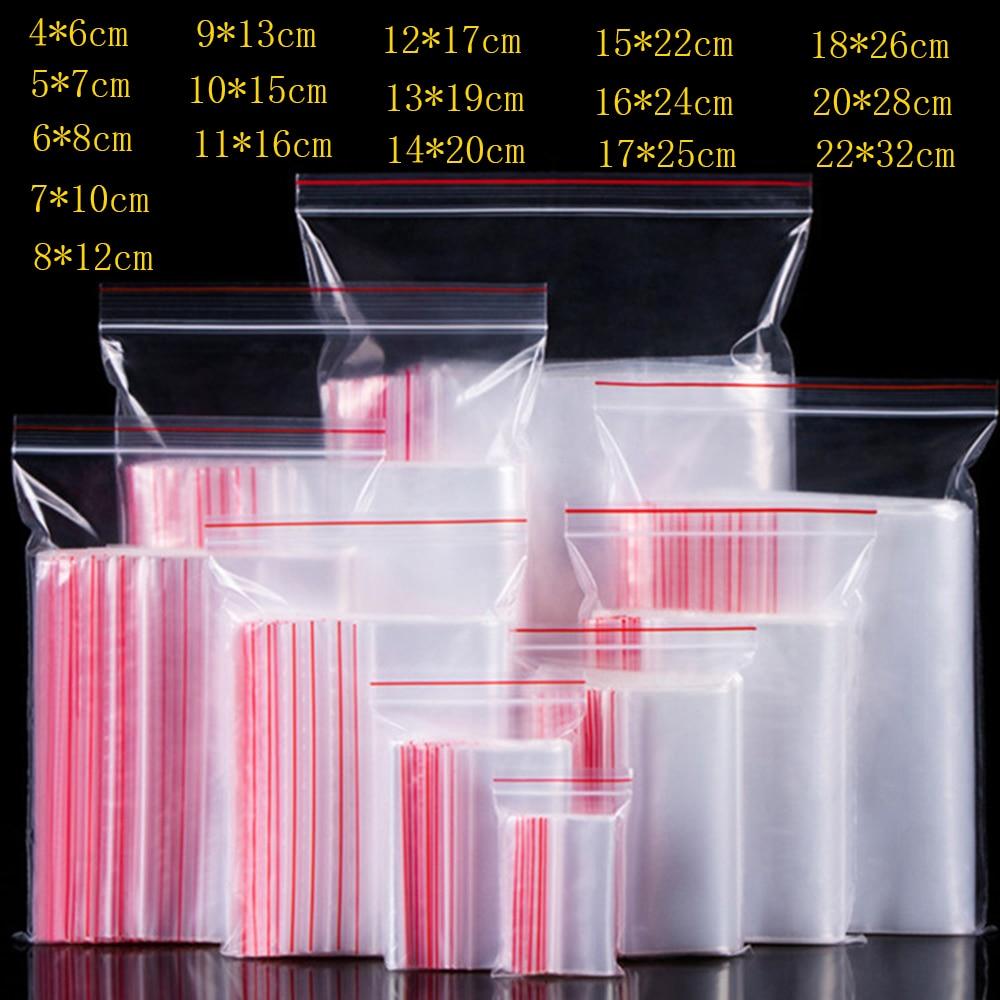 100pcs/pack Small Zip Lock Plastic Bags Reclosable Transparent Bag Shoe Bag Vacuum Storage Bag Food Storage Bag Poly Clear Bags