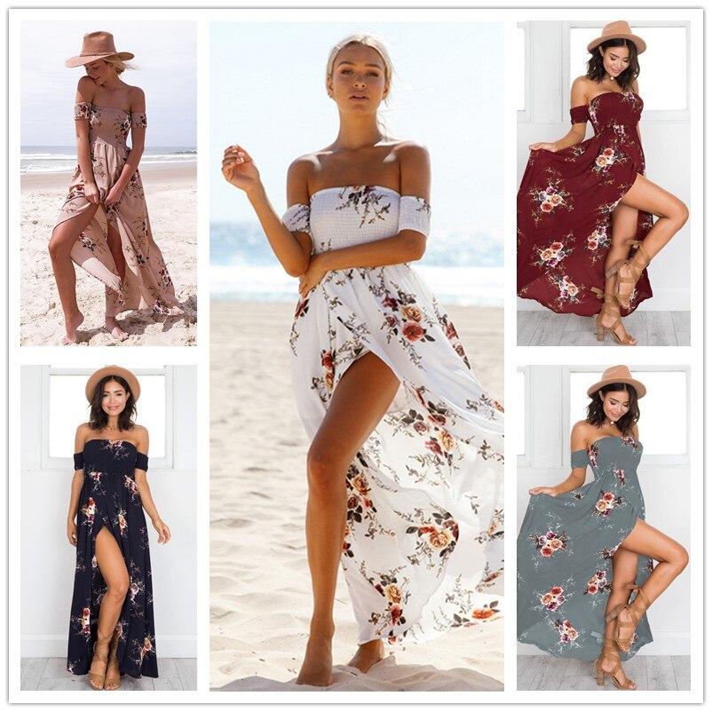 Women Elegant Strapless Maxi Dress 7 Colors 5XL Plus Size Boho Beach Dress Summer Sundress Flower Print Long Dresses Vestidos