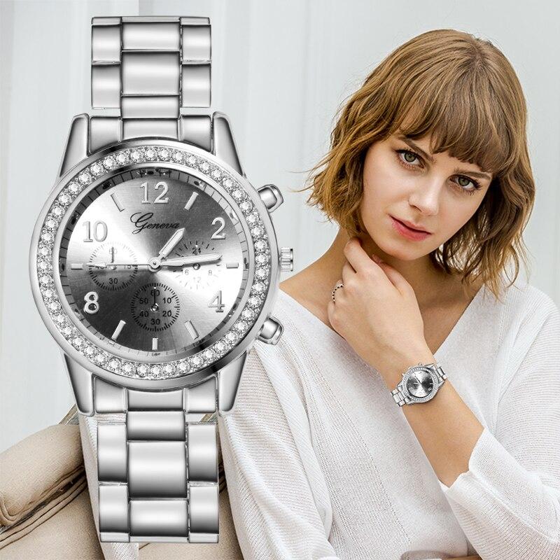 Genf Luxus frauen Uhren relogio feminino Mode Metall Armband Uhr Armband Quarz Damen Frauen Neue Uhr bajan kol saati