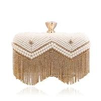 women evening clutch bags wedding bridal handbag pearl beaded purse bag fashion rhinestone diamond pearl beads female chain bag