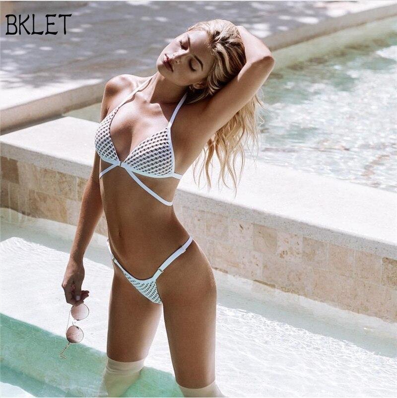 Bikini de verano 2018, Sexy Bikini de malla blanca, conjunto de traje de baño de Metal para mujer, traje de baño con lazo en la espalda, Red Brasileña de hilo, Bikini sólido de cintura baja